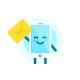 Twój smartphone przyjaciel wiadomość dla ciebie Wektorowy płaski ilustracyjny ikony kreskówki telefonu charakter pojedynczy białe Zdjęcie Stock