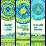 twój wakacje rodzinny szczęśliwy lato Plemienni etniczni sztandary ilustracji