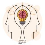 Twórczość umysłu głów móżdżkowej żarówki pamięci skuteczna drużyna ilustracja wektor