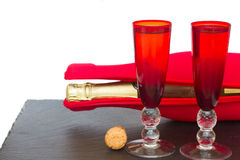 Tw glasses of christmas champagne Stock Photo