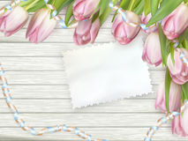TW-20160401 -1- 13. Paper card with tulips on wooden background. EPS 10 vector file included Royalty Free Stock Images