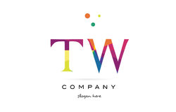 tw t w  creative rainbow colors alphabet letter logo icon Royalty Free Stock Images