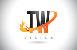 TW T W Letter Logo with Fire Flames Design and Orange Swoosh. Stock Photo