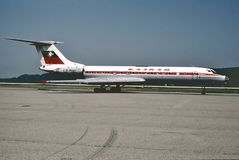 TWA波音B-727着陆在一次飞行以后的洛杉矶从印第安纳波利斯在1988年8月 库存照片