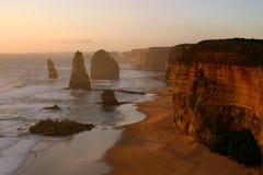 Twaalf Apostelen bij zonsondergang Stock Foto