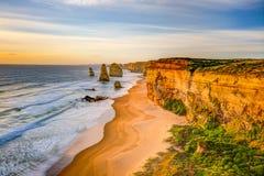 Twaalf Apostelen bij zonsondergang, Australië Royalty-vrije Stock Afbeelding