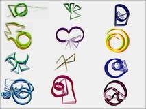 Twaalf die emblemen in de stijl van een pen worden geschilderd Stock Afbeelding