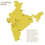 Twaalf Jyotirlingas Stock Afbeeldingen