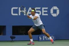Twaalf keer Grote Slagkampioen Rafael Nadal tijdens halve finalegelijke bij US Open 2013 tegen Richard Gasquet Royalty-vrije Stock Fotografie