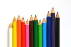Twaalf kleurenpotloden Stock Fotografie