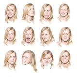 Twaalf portretten van een jonge vrouw Stock Foto's