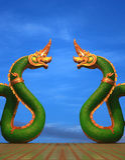 Twain Naga statue of thailand with nice sky Stock Photography