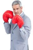 Twardy biznesmen z bokserskimi rękawiczkami zdjęcie royalty free