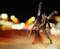 Twardy hip hop faceta taniec z jego dziewczyną fotografia stock