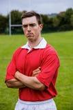 Twardy rugby gracz przygotowywający bawić się zdjęcie stock