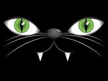 Twarz czarny kot z zielonymi oczami royalty ilustracja