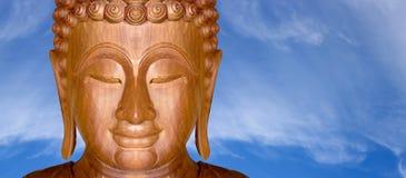 Twarz drewniany Buddha miejscowy Obraz Royalty Free