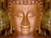 Twarz drewniany Buddha miejscowy Zdjęcia Stock