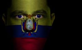 twarz ecuadorian dolców flagę Zdjęcie Royalty Free