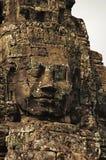 Twarz góruje Bayon świątynia W centrum Angkor Thom, Siem Przeprowadza żniwa, Kambodża Unesco Światowego Dziedzictwa Miejsce Zdjęcia Stock