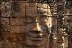 Twarz góruje Bayon świątynia W centrum Angkor Thom, Siem Przeprowadza żniwa, Kambodża Unesco Światowego Dziedzictwa Miejsce Zdjęcie Royalty Free