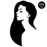 twarz jest kobieta Wektorowa mody ilustracja Czarny i biały sylwetka Obraz Stock