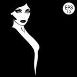 twarz jest kobieta Wektorowy moda portret Czarny i biały sylwetka Obrazy Stock