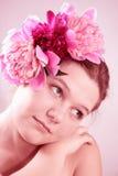 twarz kobiety kwiatów Fotografia Stock