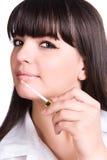 twarz kobiety szminka zakończyła Fotografia Royalty Free