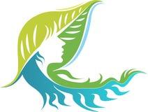 Twarz liścia logo ilustracji