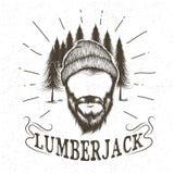 Twarz lumberjack z brodą i kapeluszem royalty ilustracja