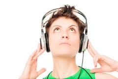 Twarz młoda dziewczyna cieszy się twój ulubioną muzykę Zdjęcie Royalty Free