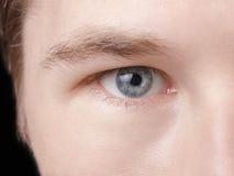Twarz młody dorosły mężczyzna z niebieskimi oczami zdjęcie stock