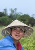 Twarz młody Wietnamski rolnik blisko Hoi Obraz Stock