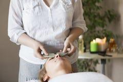 Twarz masaż lub piękna traktowanie w zdroju salonie Fotografia Stock