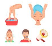 Twarz masaż, stopy skąpanie, golenie, twarzy domycie Skóry opieki ustalone inkasowe ikony w kreskówka stylu symbolu wektorowym za ilustracja wektor