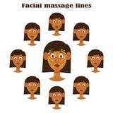 Twarz masażu set kobieta charakter odizolowywał kierowniczych wizerunki Zdjęcie Stock