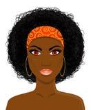 Twarz piękna Afrykańska murzynka ilustracja wektor