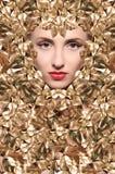 Twarz piękna dziewczyna z złotymi liśćmi zdjęcie royalty free