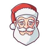 Twarz Santa Claus w czerwonym kapeluszu royalty ilustracja