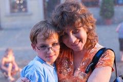 twarz skupia się jej matka jest synem kobiety Zdjęcie Royalty Free