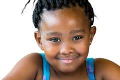 Twarz strzelająca śliczna afrykańska dziewczyna odizolowywająca Zdjęcia Royalty Free