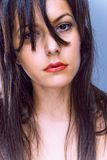 twarz włosami obrazy stock