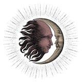 Twarz w słońca i księżyc ręce rysunkowy rocznika rytownictwa pieniądze wykłada d obrazy stock