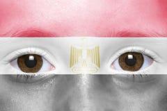 Twarz z egipcjanin flaga zdjęcie stock