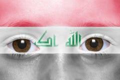 Twarz z irakijczyk flaga Zdjęcie Royalty Free
