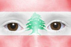 Twarz z libańczyk flaga fotografia royalty free