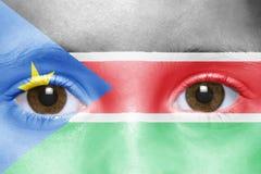 Twarz z południową Sudan flaga Obraz Royalty Free