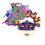 Twarz z zamkniętymi oczami z złotymi brown eyeshadows, czarny kontur, zakrywający z czerni koronki maską, pyzate wargi, kwiecista ilustracja wektor