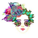 Twarz z zieloną czarodziejką ono przygląda się z makeup, turkus, purpurowi motyli skrzydło kształta eyeshadows, kwiecista abstrak Zdjęcie Royalty Free